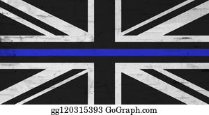 British thin blue line flag with grunge texture