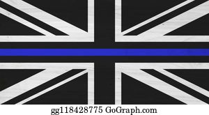 British thin blue line flag with wood texture