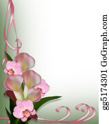 Calla Lilies and orchids border