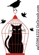 cat in birdcage, vector