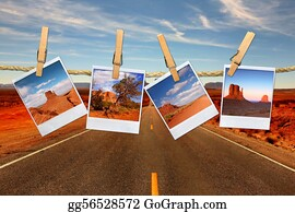 Conceptual Montage Representing Vacation Travel With Polaroid Photos of Moument Valley Desert Hanging on a Rope