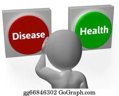 Disease Health Buttons Show Sickness Or Medicine