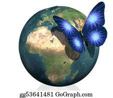 earth with cool butterfly colorful creative back