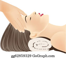 Face Massage, Head Massage, Hands massaging female face, spa