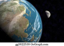 Astronomy - Asia & Moon W/stars