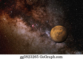 Astronomy - Milky Way And Mars