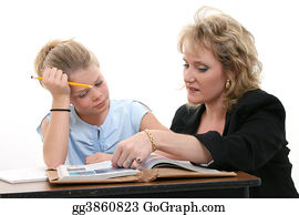 Teacher - Teacher Helping Student At Desk