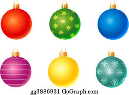 Six-Spheres-Balls-Illustration-With - Set Of Christmas Decoration