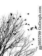 Birds-On-The-Tree-Silhouette - Flying Birds