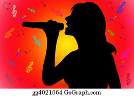 Musical-Notes - Silhouette Singing Woman