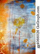 Orange-Border - Grunge Wall Background With Daisies