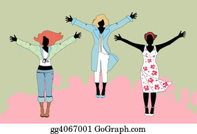 Wrap - Vector Illustration Of Three Women In Various Outfits