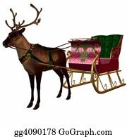 Antler - Reindeer And Sleigh