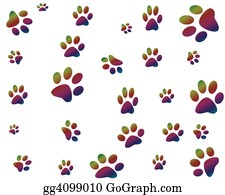 Halloween-Dog - Colorful Paw Prints