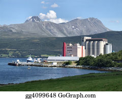 Concrete-Silo - Industry In Mountains, Norway