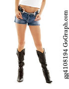Tall-And-Short - Cowboy Boots And Denim Shorts #2