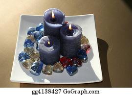 Flaming-Heart - Blue Candles & Heart