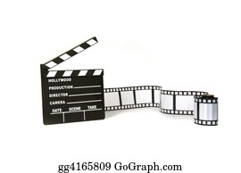 Movie-Production - Clapboard And Film Strip On White Background