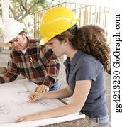 Labor-Union - Engineering Student Marking Blueprints
