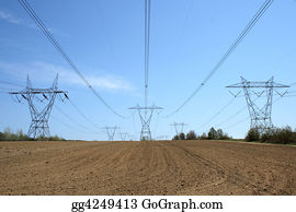 Cultivation - Electricity Pylons In Cultivated Land