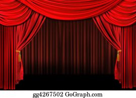 Movie-Production - Red On Stage Theater Drapes