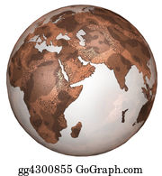 Map-Of-India - Textured Red Planet Earth East