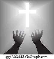 Prayer-Symbol - Supplication Hands Cross Silhouette