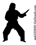 Karate - Silhouette With Clipping Path Of Martial Arts Woman