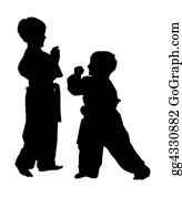 Karate - Silhouette With Clipping Path Of Martial Arts Boys