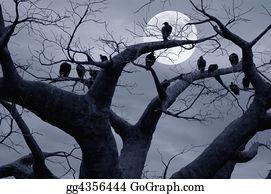Birds-On-The-Tree-Silhouette - Spooky
