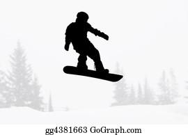 Acrobatic - Snowboarder Silhouette