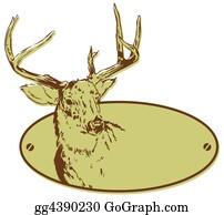 Reindeer-Christmas-Silhouettes - Deer Hunting Club Style Banner Illustration