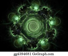 Odd-Shapes - Abstract Green Whirlpool On A Black Background