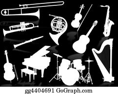 Harp-Music - Musical Instruments Silhouettes