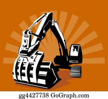 Roadworks - Digger With Sunburst In T