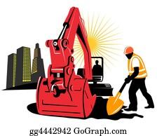Roadworks - Excavator And Worker