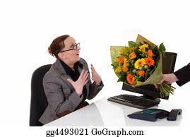 Birthday-Suit - Secretary Day, Flowers On Desk
