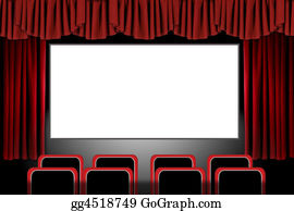 Movie-Production - Red Stage Drapes In A Movie Theatre Setting: Illustration In Photoshop