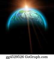 Australia - Rising Sun And Planet Illustration