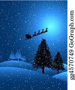 Reindeer-Christmas-Silhouettes - Santa On A Snowy Night