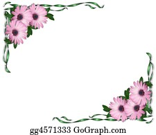 Announcement - Purple Daisies And Ribbons Corners