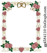 Valentine-Border-Hearts-Frame - Roses Wedding Or Party Invitation