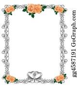Valentine-Border-Hearts-Frame - Peach Roses Wedding Invitation