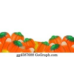 Orange-Border - Halloween Candy Corn Border