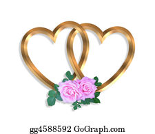 Golden-Love-Hearts - Linked Gold Hearts And Roses 3d