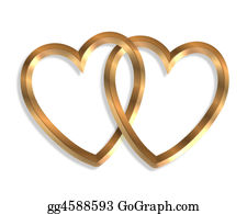 Golden-Love-Hearts - Linked Gold Hearts 3d