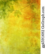 Vine - Grunge Background With Grape Leaves