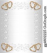 Valentine-Border-Hearts-Frame - Wedding Invitation White Satin Gold