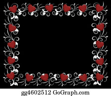 Valentine-Border-Hearts-Frame - Red Hearts On Black Invitation