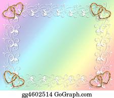 Valentine-Border-Hearts-Frame - Wedding Or Party Invitation Rainbow